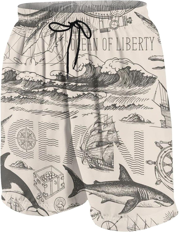 Fairy UMI The Navigator and The sea Behemoth Teen Boys Quick Dry Surf Swim Trunk Multicolored Youth Summer Beach Board Shorts