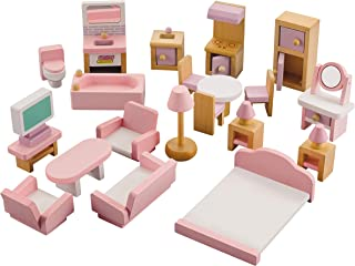 NextX Doll House Furniture and Accessories, Wooden Dollhouse DIY Toys for Girls