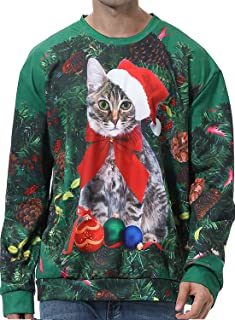 Unisex Ugly Christmas Sweater 3D Santa Printed Pullover Sweatshirts for Women Men Long Sleeve Xmas Holiday Shirts