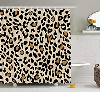 Leopard Print Pattern Shower Curtain Animal Skin Jaguar Cheetah Panther Brown Spots on Gold Background ShowerCurtains with...