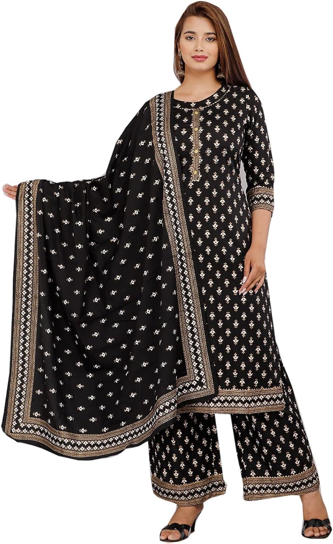 Black Traditional Festival Indian Women Reyon Straight Palazzo Kurti Set Ethnic Cocktail Bandhani Print Suit 446l