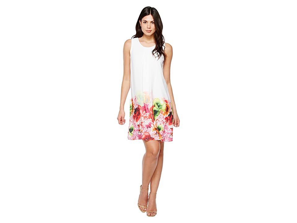 CeCe Floral Tropics Border Invert Pleat Shift (Azalea Bloom) Women