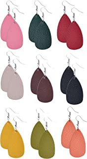 9 Pairs Comfortable Women Girly Leather Earrings Teardrop for Ladies Teens Premium Quality Lightweight Dangle Faux Leaf Leather Earrings