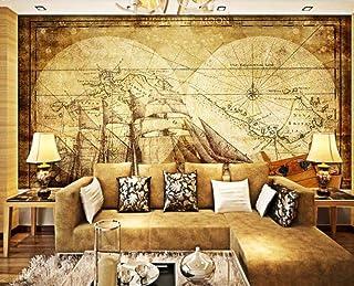 Papel Pintado 3d Pared Mapa De Navegación Antiguo Velero AntiguoFotomural fondo Salón Dormitorio Despacho Pasillo Decoración Murales Paredes 300cmX210cm