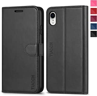 TUCCH iPhone XR Wallet Case, iPhone XR Case, Premium PU Leather Flip Slim Cover[Kickstand] [RFID Blocking] Credit Card Holder, [Wireless Charging] Compatible with iPhone XR(6.1 inch) – Black
