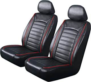PIC AUTO Luxury Front Car Seat Covers, Waterproof PU Leather with Red Piping, Heavy Duty, Airbag Compatible, Fit Most Cars, SUVs and Vans, Black/Red, Low Back(4PCS)