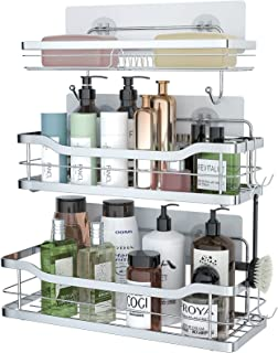 stusgo Shower Caddy Wall Mount Bathroom, Adhesive Shower Shelves for Inside Shower with Double Soap Dish Holder with 4 Hoo...