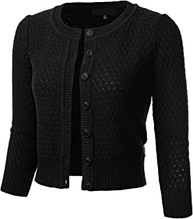 Women's Button Down 3/4 Sleeve Crew Neck Cotton Knit Cropped Cardigan Sweater (S-3X)