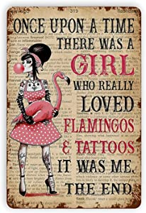 dgffgf Flamingo Metal Retro Tin Signs, Girl Really Loved Flamingos And Tattoos Funny Wall Decor Vintage Art Tin Sign Wall Plaque Posters For Home Bar Pub Cafe Farmhouse Decoration 8x12 Inch