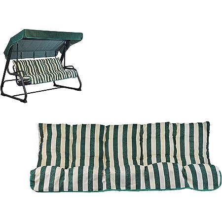 Tecnoweb - Cojines para balancín de 3 plazas - Incluido también el techo a juego - 100% fabricado en Italia - Ideal para exteriores (jardines y patios) - Estructura no incluida, Rigato Ecru Verde
