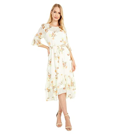 Calvin Klein Floral Print Chiffon Dress with Ruffle Cuff and Hem (Luggage Multi) Women