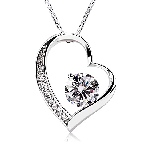 8dd0db9280c9 B.Catcher Women Necklace Forver Love Heart Pendant Necklace 925 Sterling  Silver Box Chain
