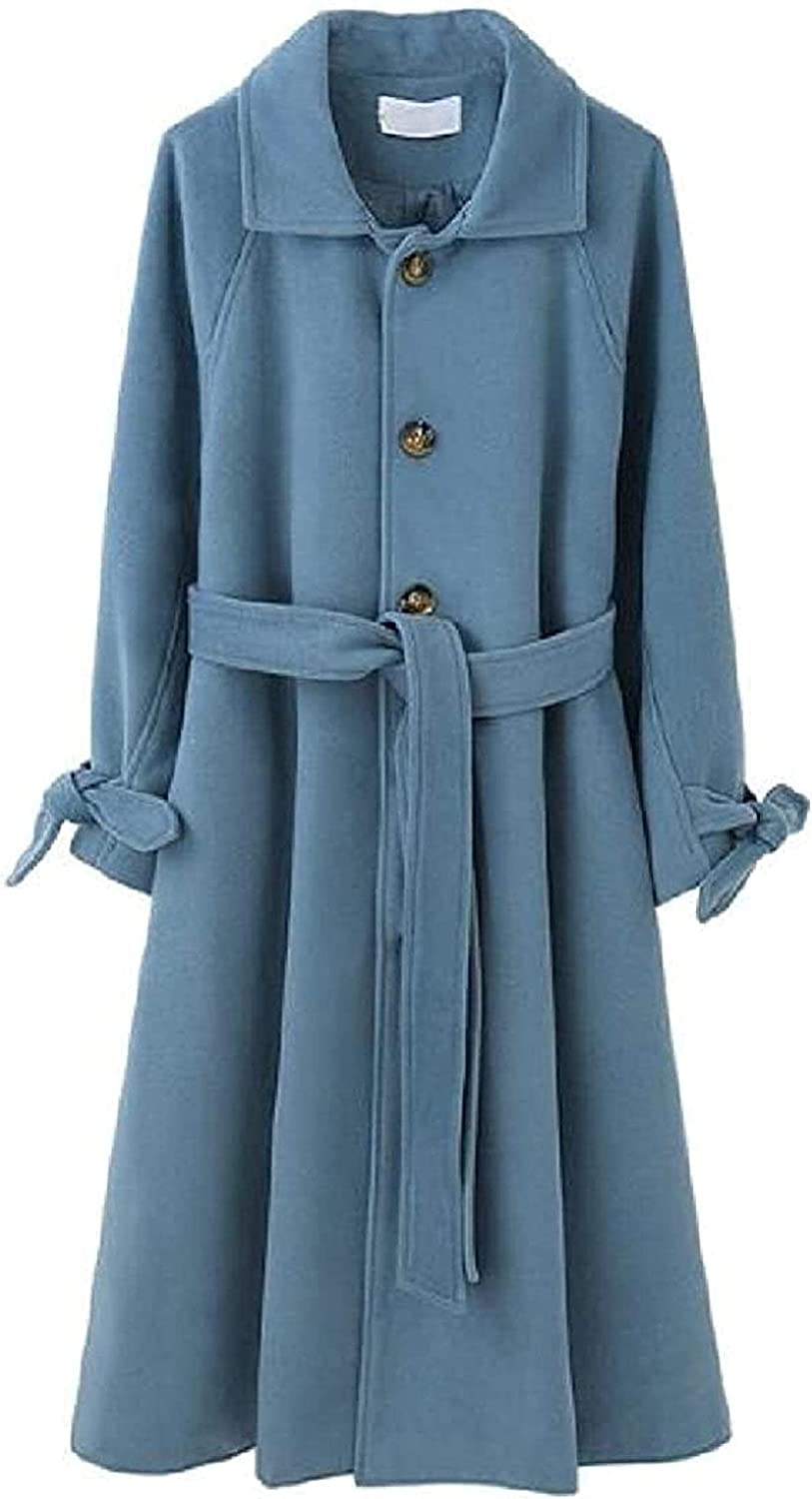 Women Pea Coat Fall Winter Wool Long Single Blend Belte safety Breasted Special Campaign