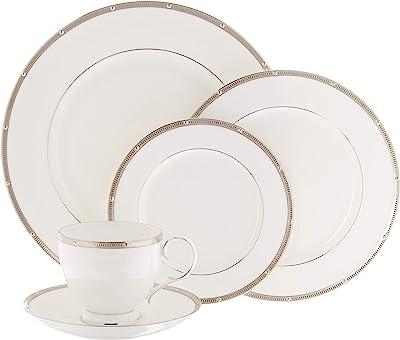 Noritake Rochelle Platinum 5-Piece Place Dinnerware Setting in White