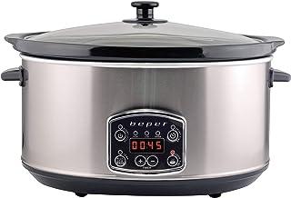 BEPER BC.510 Slow Cooker, 280 W, 4,5 liter, glaskeramiek, zwart en staal
