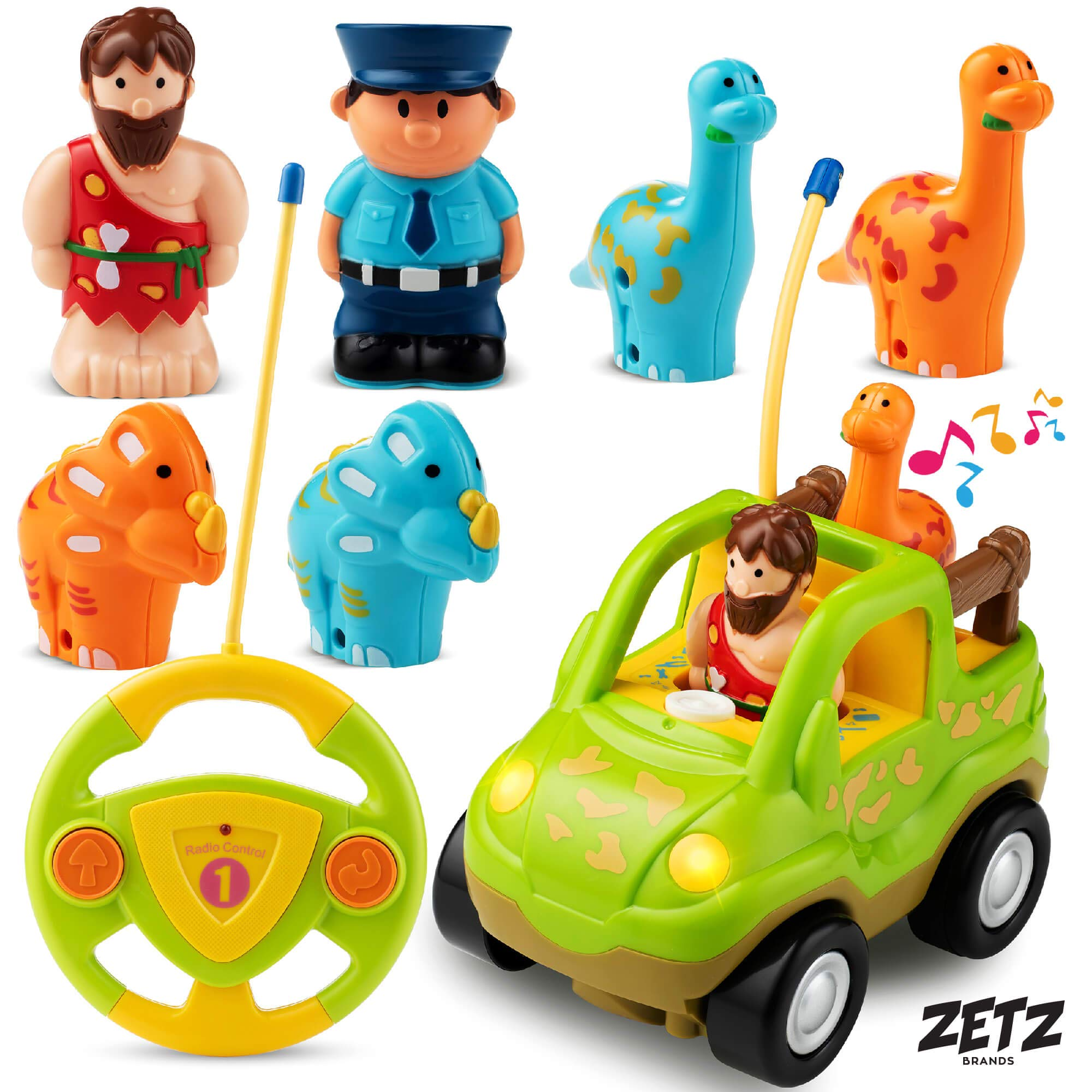 Remote Control Car Dino Toys Set - with Dinosaur Figures, Watchman &  Caveman - Includes 4 Dinosaur Toys for 3 Year Olds & Up | RC Cars for Boys