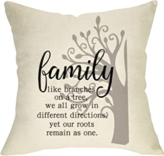 """Softxpp Family Quotes Throw Pillow Cover Our Roots Remain as One, Home Decorative Cushion Case Decor Sign, Rustic Farmhouse Square Pillowcase Spring Summer Decorations for Couch Cotton Linen 18"""" x 18"""""""