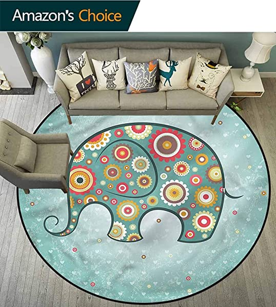 RUGSMAT Floral Dining Room Home Bedroom Carpet Floor Mat Elephant With Flowers Non Skid Bath Mat Living Room Bedroom Carpet Diameter 59