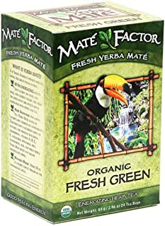 The Mate Factor Yerba Mate Energizing Herb Tea Bags, Organic Fresh Green, 24-Count Boxes (Pack of 3)