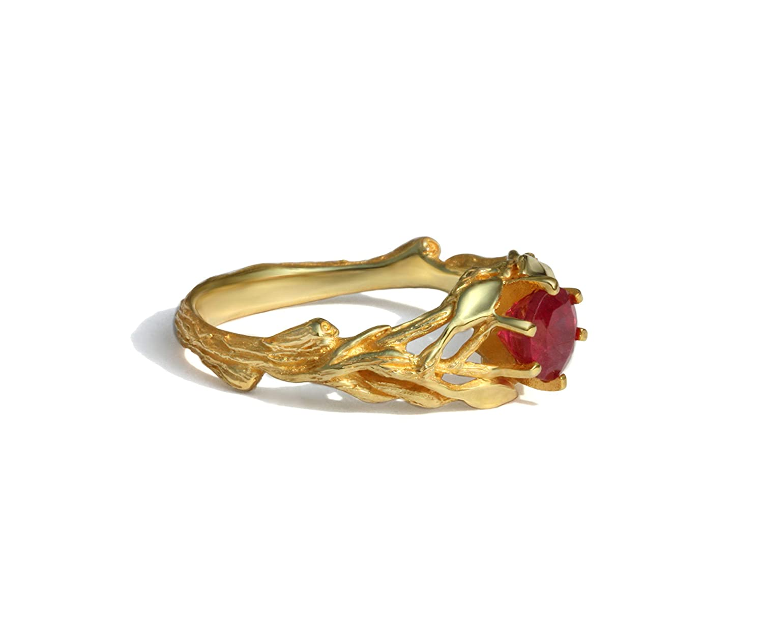 Leaves branches engagement low-pricing ring natural leafs Limited Special Price solid 18k 14k ruby