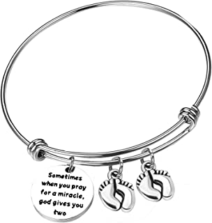 Mom Bracelets Twins Jewelry Gift Sometimes When You Pray for a Miracle, God Gives You Two Twin Mom Jewelry Footprint Charm Expandable Bracelet Mother's Day Thanksgiving Christmas Gift 1PCS
