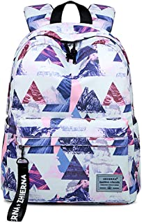 Backpack for Women College Teen Girl Boy Light Weight Water Resistance Hiking Travel Business Daypack Laptop Backpack, 8#PinkTriangle (White) - HTFCD429-PinkTriangle