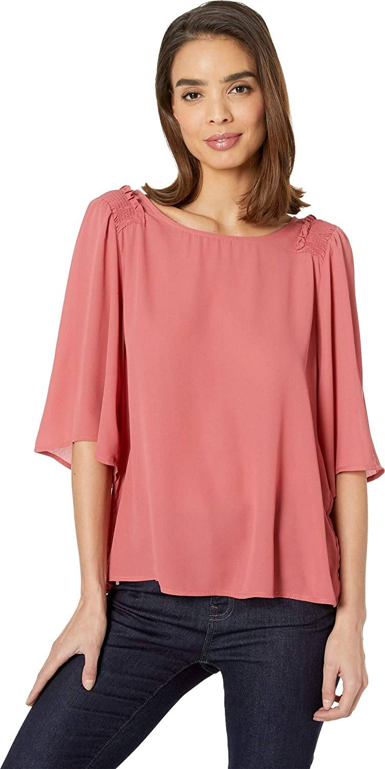 B Collection by Bobeau Women& 39;s Bette Flutter Sleeve Smocked Top