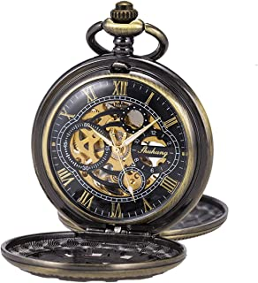 Pocket Watch Skeleton Mechanical Double Case Hand-Wind SIBOSUN Roman Numerals Antique Chain Mens