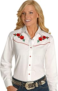 Ely Cattleman Women's Embroidered Roses Vintage Western Cowboy Shirt - 303801Asst