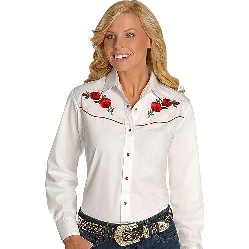 70e826dd6d4 Ely Cattleman Women s Embroidered Roses Vintage Western Cowboy Shirt -  303801Asst