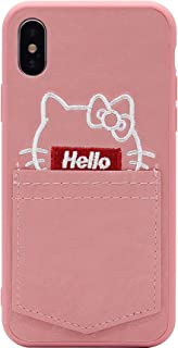 iPhone 6s Case, iPhone 7 Case, MC Fashion Cute Cartoon Hello Kitty Hard Shell Wallet Case with Card ID Slot, Ultra Slim Protective PC Case for Apple iPhone 6 /6s /7/8 (4.7-Inch) (Pink)