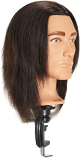Traininghead 8-10'' Male Mannequin Head 100% Human Hair Hairdresser Training Practice Head Manikin Cosmetology Doll Head With Clamp (Natural Black)