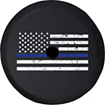 Pike Outdoors JL Series Spare Tire Cover Backup Camera Hole Distressed American Flag Thin Blue Line Black 33 in