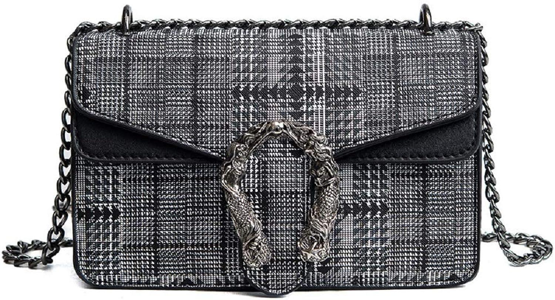 AI BAO Women Plaid Shoulder Bag Korean Fashion Diagonal Bag