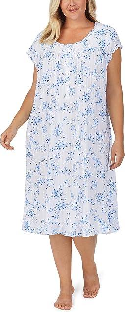 Plus Size Cotton Modal Pointelle Knit Cap Sleeve Waltz Nightgown