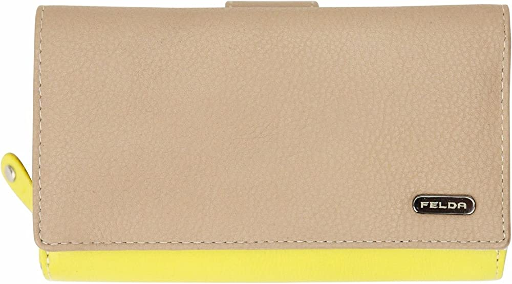 Felda portafoglio porta carte di credito con protezione rfid in vera pelle per donna  16-104 Nude Multi