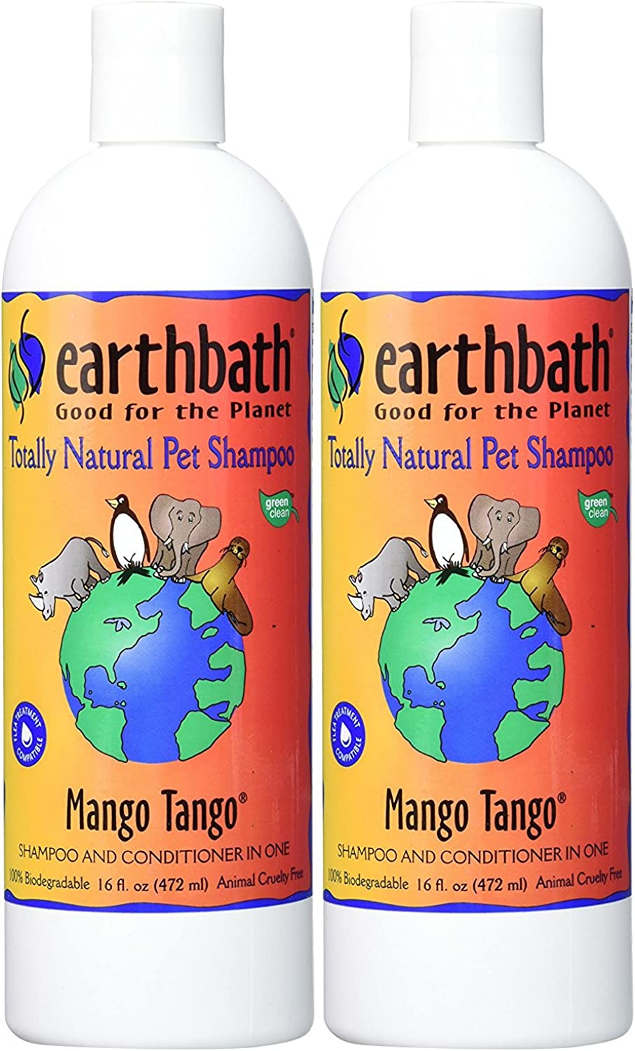 Earthbath 840002 All Natural Shampoo (2 Pack), 16 oz