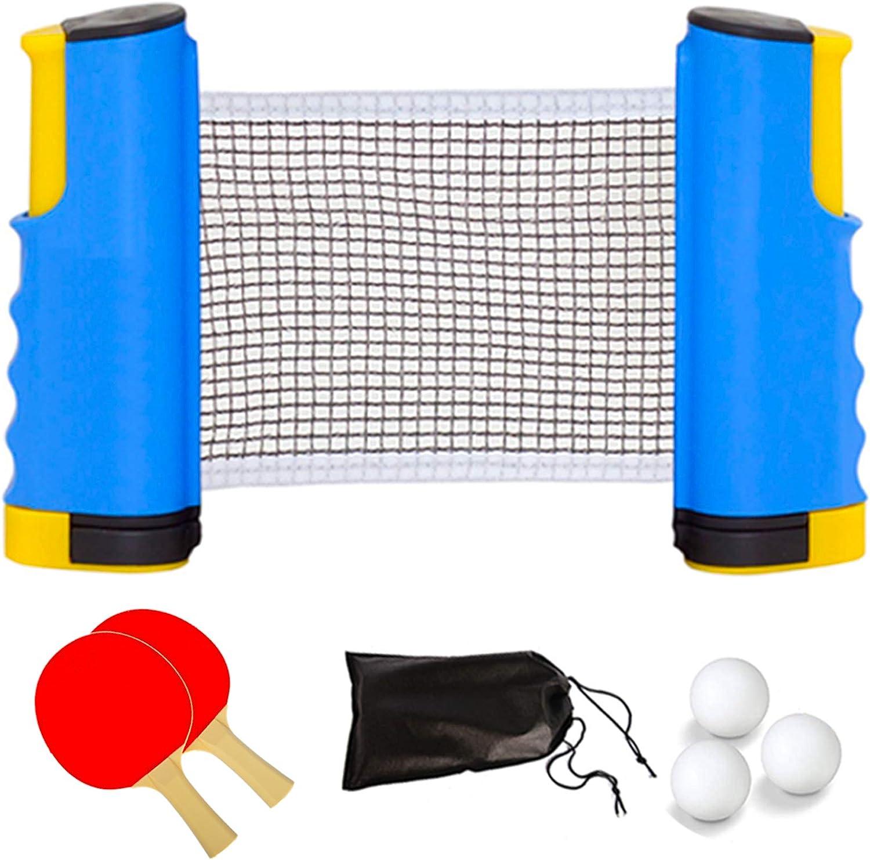 CHOLJ Table Tennis Set, Includes 1 Retractable Ping Pong Net Pos