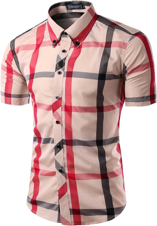 S&S Men's Basis Short-Sleeve Plaid Button-Down Shirt Dress Shirt