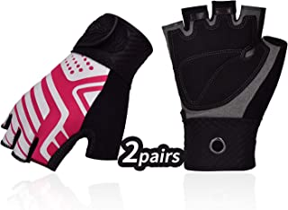 Vgo... 2Pairs Ladies` Half-Finger Breathable Climbing Outdoor Gloves with Anti-Slip Padding Palm(Red, SL3100)
