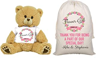 Flower Girl Teddy Bear and Gift Bag 16 inch Large Tan Plush Gift for Wedding Party Add Your Custom Name Wedding Thank You Message Proposal (Large 16