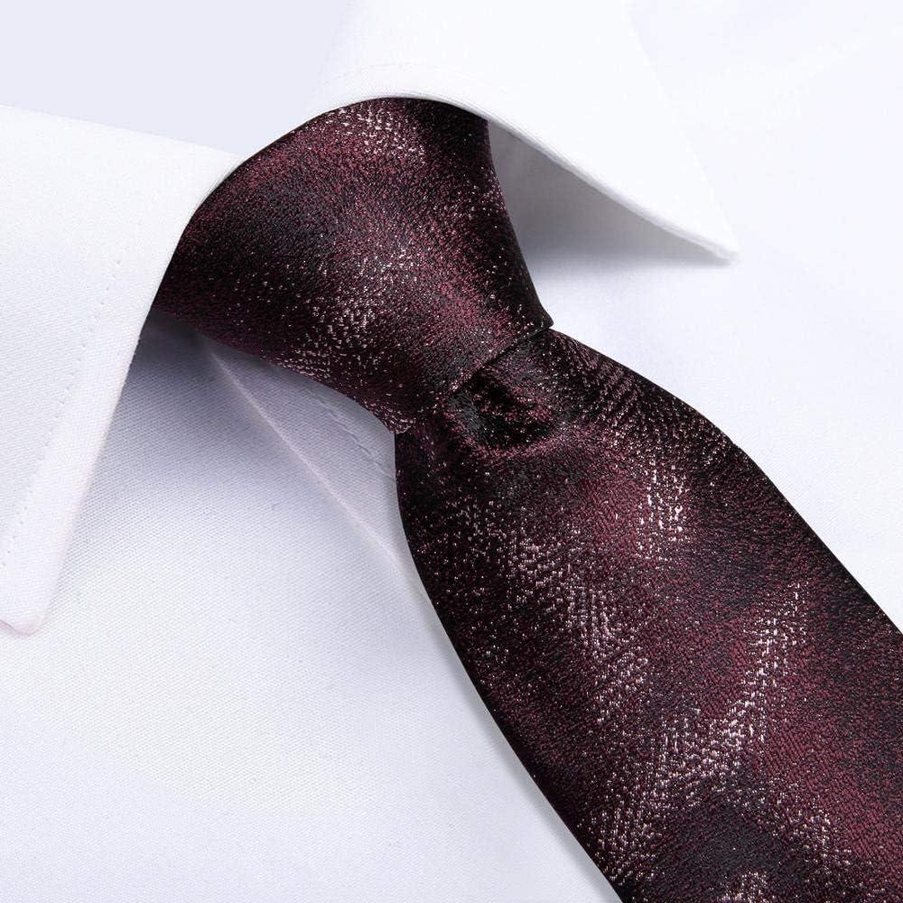 JIEIIFAFH Luxury Red Men's Gift Tie 100% Silk Tie Compatible with Men Handkerchief Cufflinks Neck Tie Business Wedding Party Tie Set