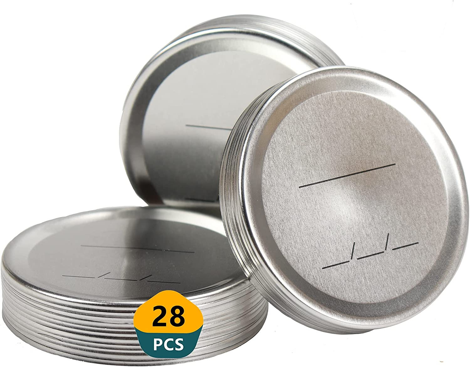 28 Counts 70mm Regular Mouth Canning Lids,Split-Type Metal Crock Pot Mason Jar Lid with Leak Proof & Airtight Seal Features for Food Grade Material,100% Fit & Airtight for Storage and Secure Pressure Canner Lids (28Pcs-70mm)