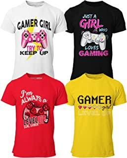 Sponsored Ad - BROOKLYN VERTICAL Girls 4-Pack Gaming Short Sleeve Crew Neck T-Shirt with Chest Print  Sizes S-XL