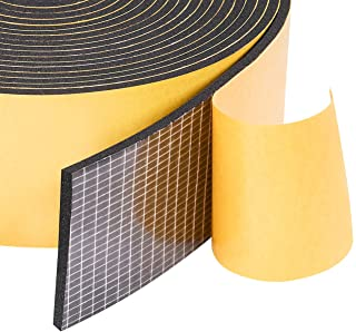 "Neoprene Weather Stripping 2"" W X 1/8"" T, Self Adhesive Foam Rubber Seal Strip Tape, 16 Ft Length"