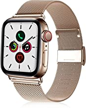 VATI Compatible with Apple Watch Band 38mm 40mm 42mm 44mm, Adjustable Stainless Steel Mesh Loop Magnet Replacement Wristband Compatible for Apple Watch Series 5, iWatch 4/3/2/1