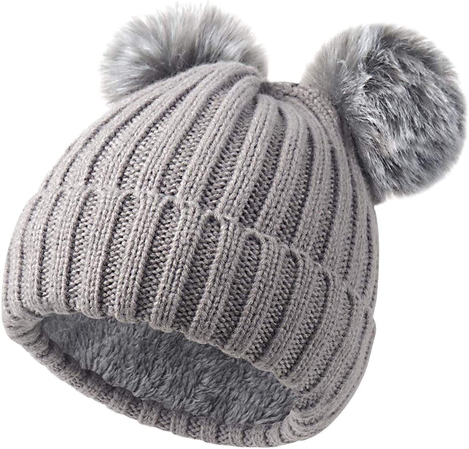 Onway Kint Slouchy Beanie Hat with Warm Fleece Lined and Detachable 2 Faux Fur Pom Pom for Winter