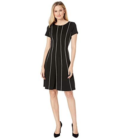 Adrianna Papell Daphne Ottoman Fit Flare Dress (Black) Women