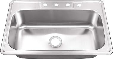 "MSDP3322SB 33"" x 22"" 20 Gauge Stainless Steel Single Bowl Kitchen Sink"