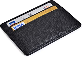 RFID Credit Card Holder Slim Wallet Leather Minimalist Wallet with ID Window